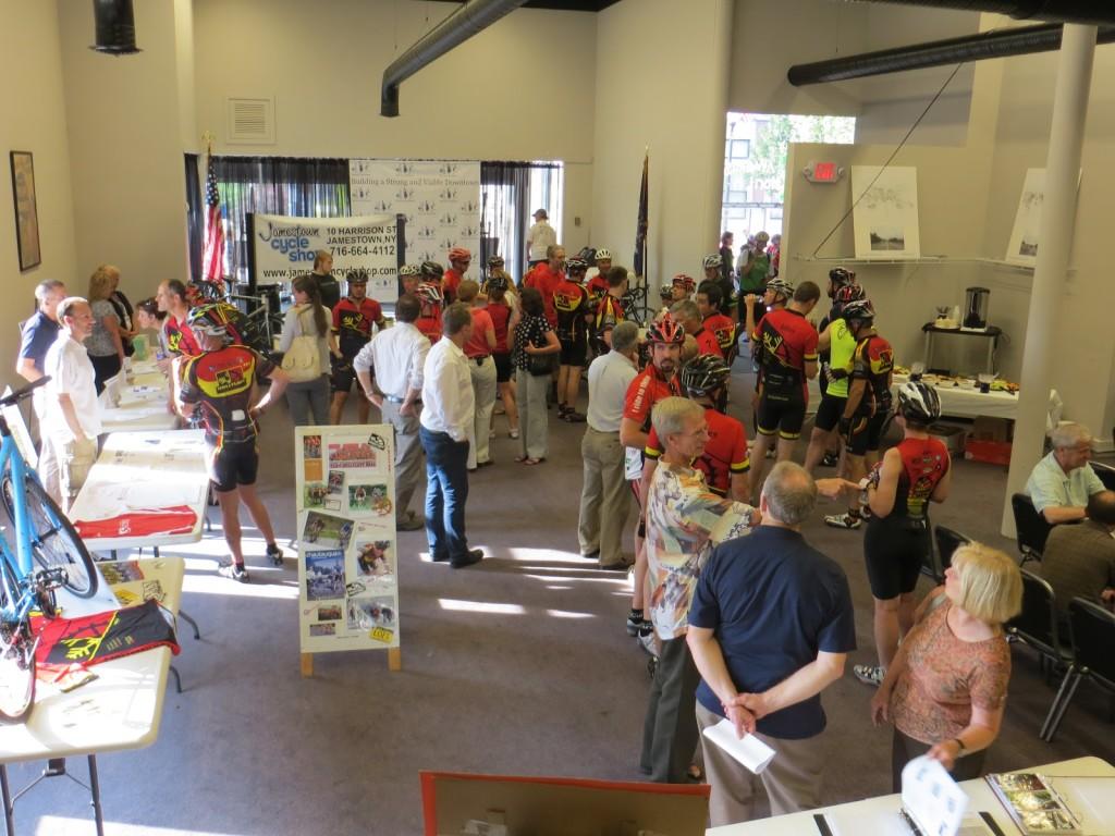 Jamestown-Meeting-Attendees-enjoying-Ped-Bike-Expo-before-meeting-1024x768